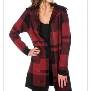 Eclipse red and black plaid cardigan